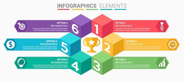 Infográficos s com números e setas Vetor Premium