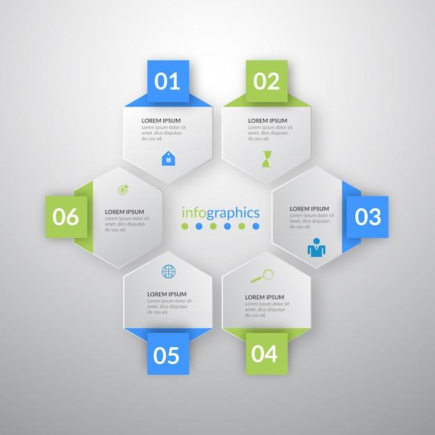 Infogrphics de ilustração vetorial com seis ícones Vetor Premium