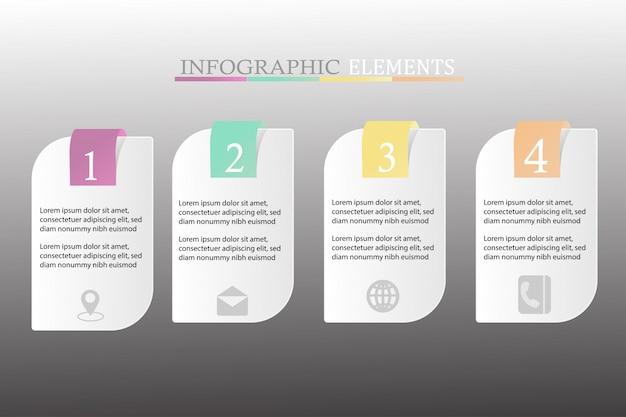 Inforgraphic com quatro etapas Vetor Premium