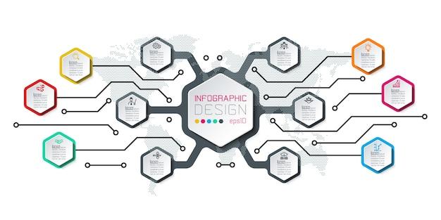 Inforgraphics do hexágono na arte gráfica de vetor. Vetor Premium