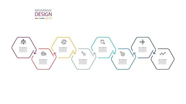 Inforgraphics do hexágono na arte gráfica. Vetor Premium