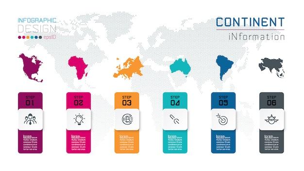 Informação continental do infographics na arte gráfica de vetor. Vetor Premium