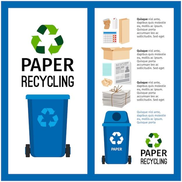Informação de recipiente azul de lixo com papel Vetor Premium