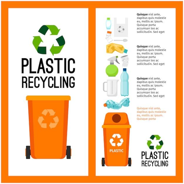 Informação de recipiente de lixo laranja com plástico Vetor Premium