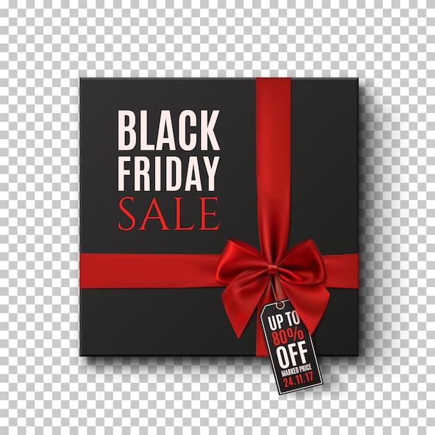 Informações básicas conceituais de venda de sexta-feira negra. caixa de presente preta com fita vermelha e etiqueta de preço em fundo transparente. Vetor Premium