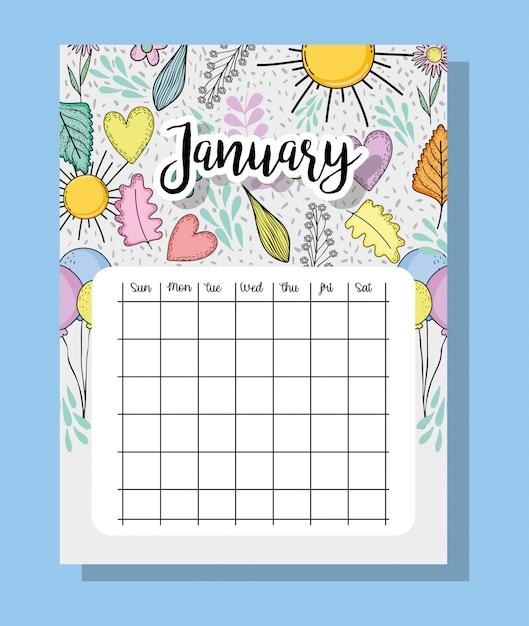 Informações de calendário de janeiro com flores e folhas Vetor Premium