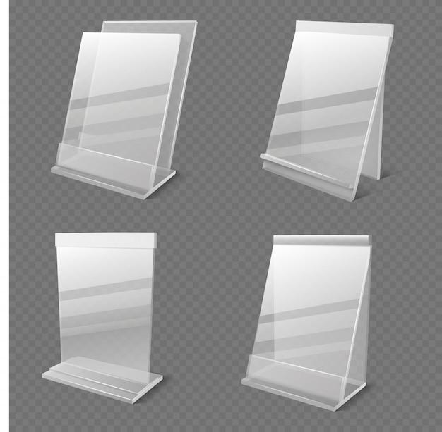 Informações de negócios realista transparente plexiglass titulares vazios vector isolado Vetor Premium