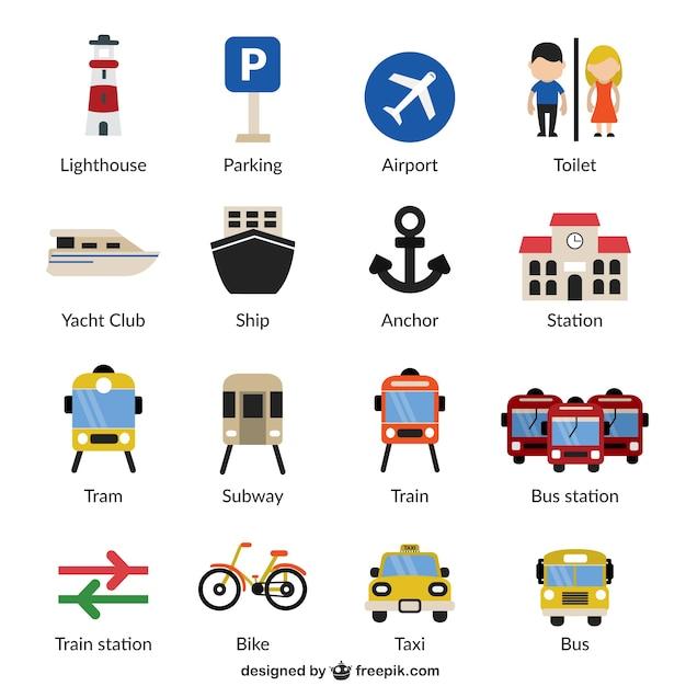 Infra-estruturas e transportes ícones Vetor grátis