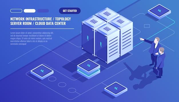 Infraestrutura de rede, topologia de sala de servidores, data center em nuvem, dois executivos Vetor grátis
