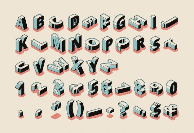 Inglês, alfabeto, isometric, jogo, com, latim, letras abc, símbolos especiais, sinais pontuação Vetor grátis