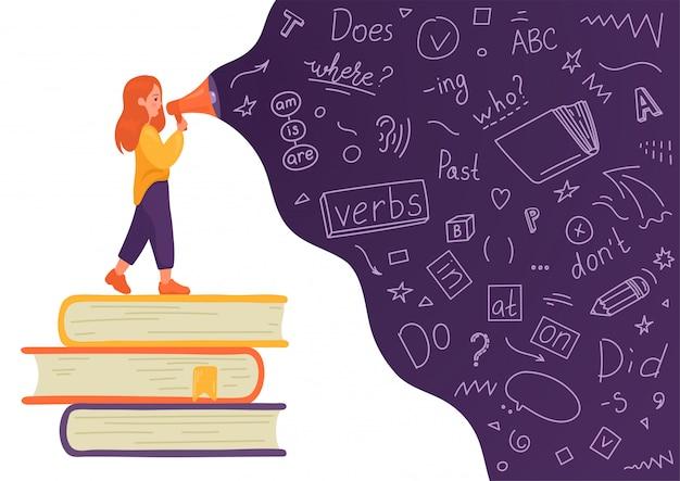 Inglês. menina na pilha de livros falando com o megafone com linguagem doodle em fundo branco. falante feminina. ensino, tradução, aprendizagem, conceito de educação. Vetor Premium