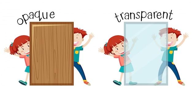 Inglês oposta palavra opaca e transparente Vetor grátis