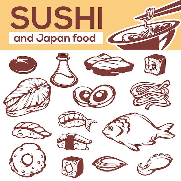 Ingredientes de comida japonesa, tudo para o seu menu de macarrão e sushi Vetor Premium