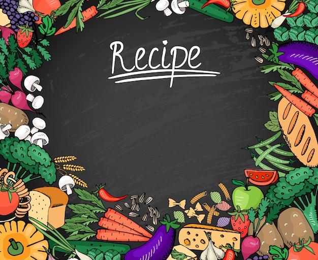 Ingredientes de receitas de alimentos coloridos, como vegetais, pão e fundo de especiarias no quadro negro Vetor grátis