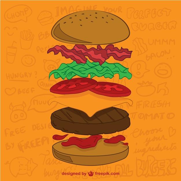 Ingredientes hambúrguer vetor Vetor grátis
