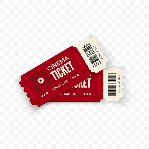 Ingressos de cinema. bilhetes de cinema de casal vermelho em fundo transparente. ilustração Vetor Premium