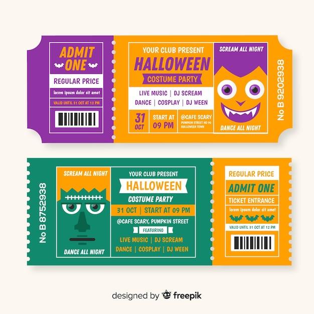 Ingressos de halloween Vetor grátis