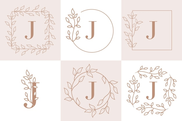 Inicial da letra j com modelo de moldura floral Vetor Premium