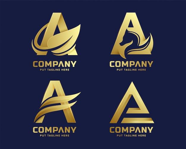 Inicial de luxo premium letra a logotipo modelo para empresa Vetor Premium