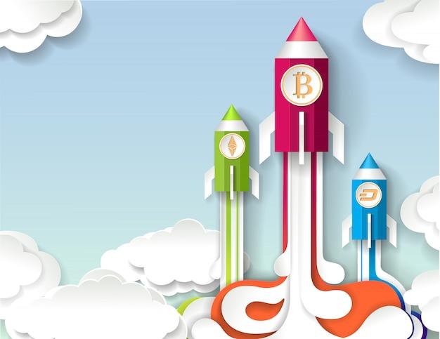 Inicialização da criptomoeda, conceito do crescimento do bitcoin no estilo da arte de papel. Vetor Premium