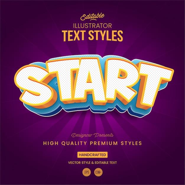 Iniciar estilo de texto do jogo Vetor Premium