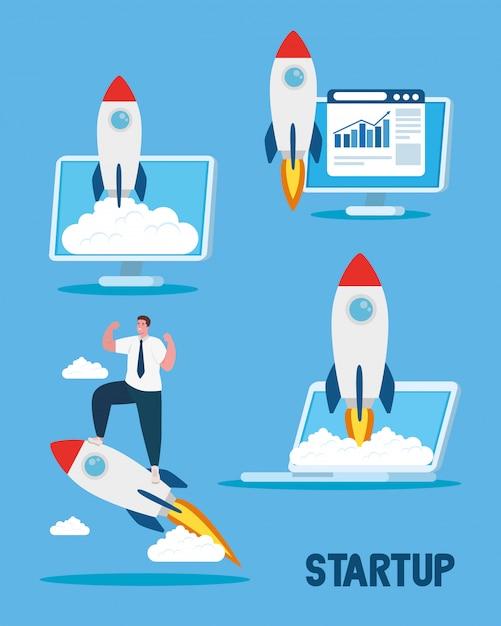 Iniciar foguetes no computador portátil e homem vector design Vetor Premium