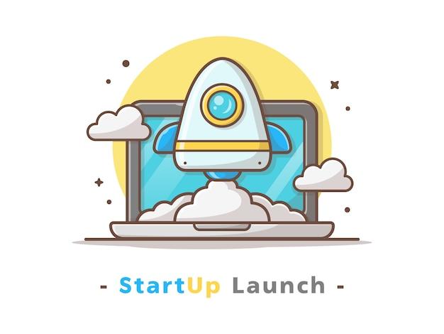 Iniciar o lançamento de foguete com laptop e ilustração vetorial de nuvem Vetor Premium