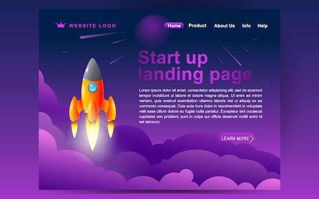 Inicie o modelo de página de destino dos serviços de mídia social. conceito moderno design plano de design de página da web para o site e site móvel Vetor Premium
