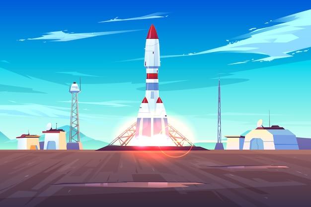 Início da espaçonave, decolagem de um foguete pesado, lançamento de satélite ou estação internacional na terra Vetor grátis