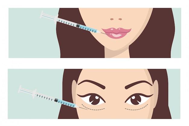 Injeção facial de ácido hialurônico Vetor Premium