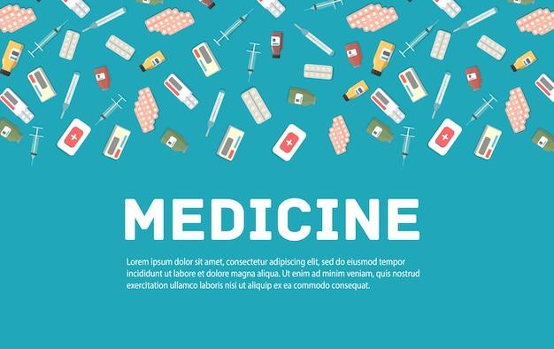 Injeções de preparações médicas, pílulas, frasco, kit de primeiros socorros. conjunto de medicina e saúde Vetor Premium