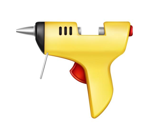 Injetor de colagem amarelo isolado no fundo branco. ferramenta manual para colagem, reparação Vetor grátis