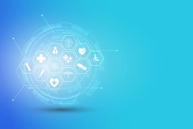 Inovação médica de padrão de ícone de cuidados de saúde Vetor Premium