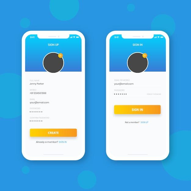 Inscreva-se e inscreva-se com telefone inteligente, design de interface de usuário Vetor Premium