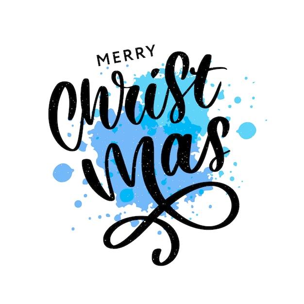 Inscrição caligráfica de feliz natal decorada com estrelas douradas e grânulos Vetor Premium