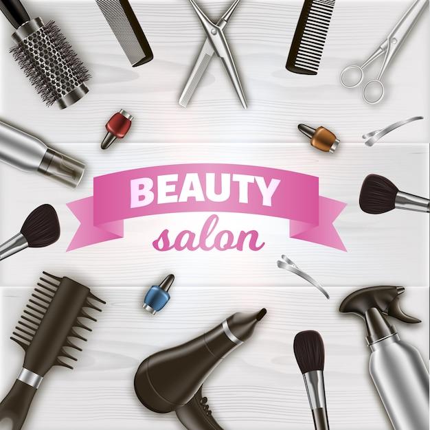 Inscrição centrada em torno de ferramentas de cabeleireiro Vetor Premium