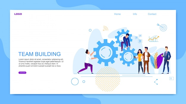 Inscrição de banner plana team building cartoon Vetor Premium