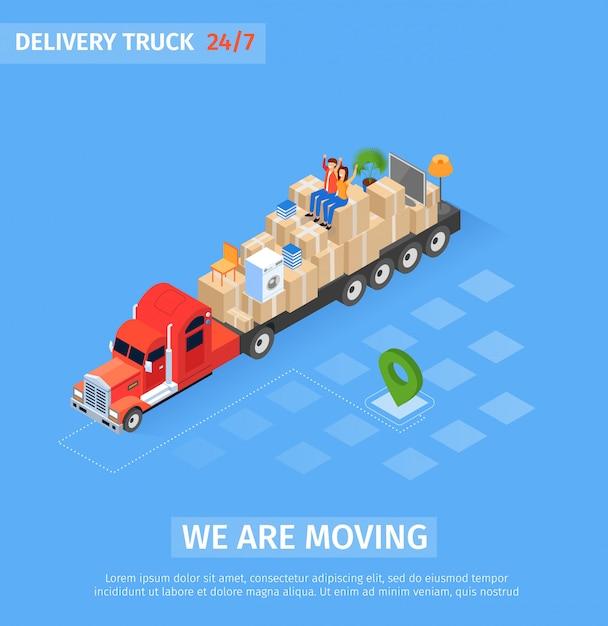 Inscrição de caminhão de entrega de bandeira estamos nos movendo Vetor Premium