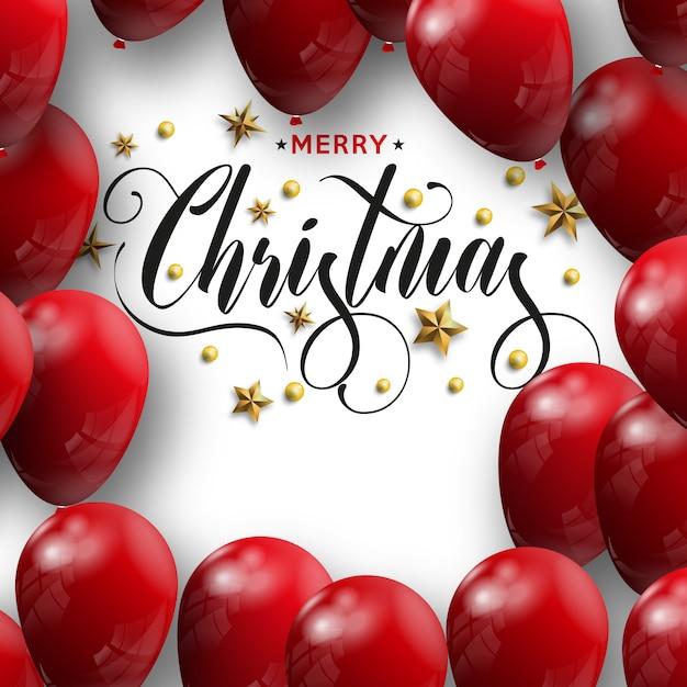 Inscrição de feliz natal decorada com balões vermelhos Vetor Premium