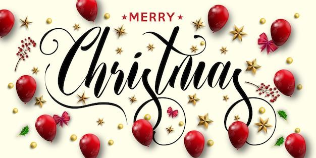 Inscrição de feliz natal decorada com estrelas de ouro Vetor Premium