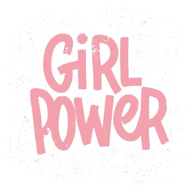 Inscrição de poder feminino em letras rosa Vetor Premium