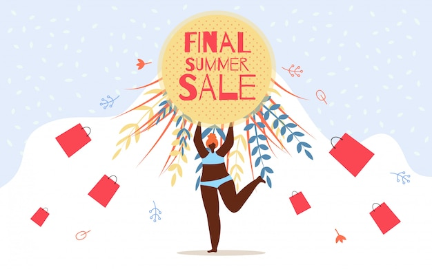 Inscrição de publicidade flyer final venda de verão Vetor Premium