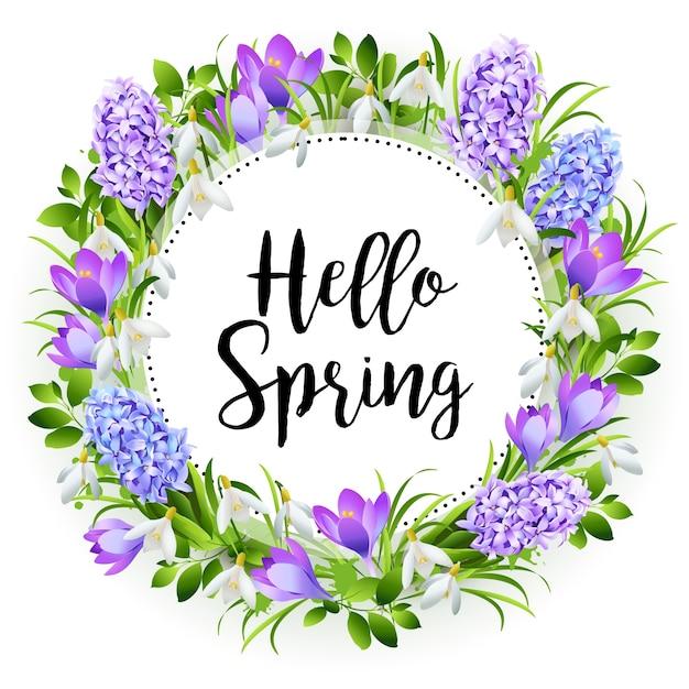Inscrição hello spring on background with spring flowers Vetor Premium