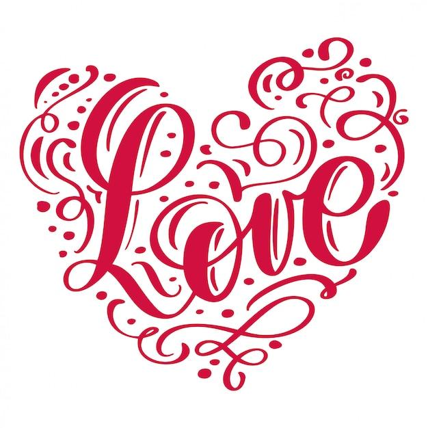 Inscrição manuscrita amor disposto no coração feliz dia dos namorados Vetor Premium