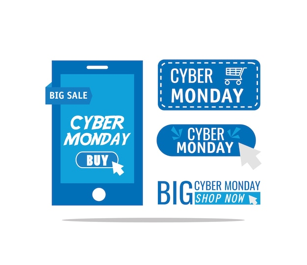 Inscrições de segunda-feira cibernética em design de ilustração vetorial de smartphone Vetor Premium