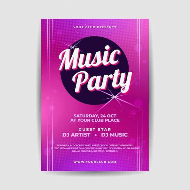 Insecto elegante do festival do partido da música ao vivo poster Vetor Premium