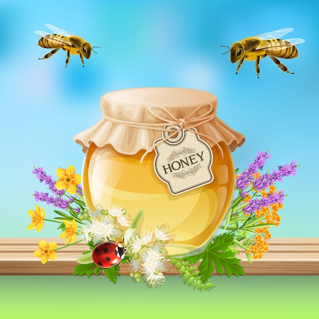 Insetos abelhas realistas Vetor grátis