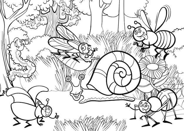 Insetos de desenhos animados para livro para colorir Vetor Premium