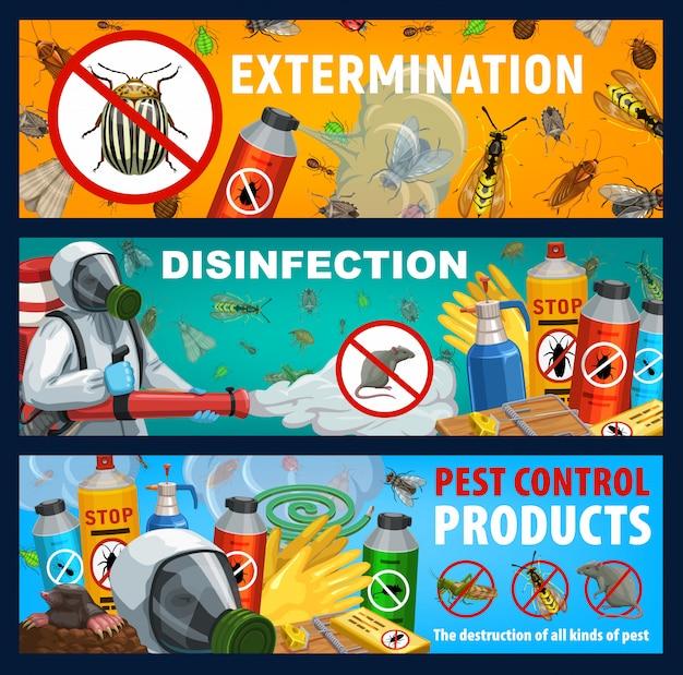 Insetos de desinfecção ou ratos controlam banners de vetores Vetor Premium