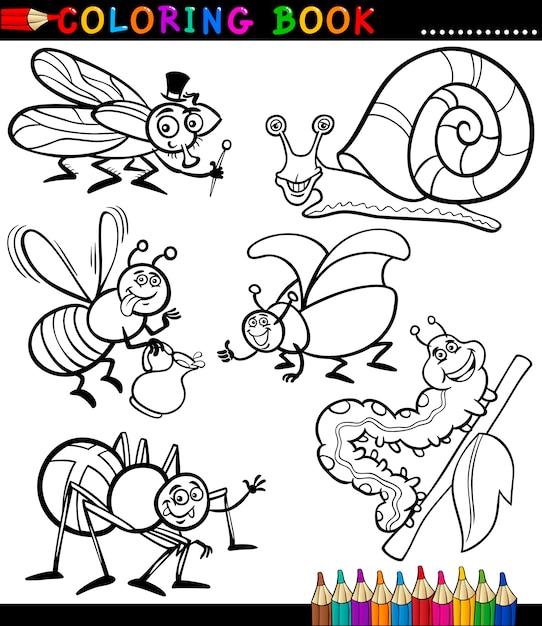 Insetos e insetos para coloring book Vetor Premium